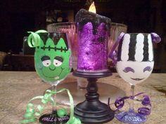 Frankenstein and his Bride 12oz wine glass by MLStemwareworks4u, $25.00