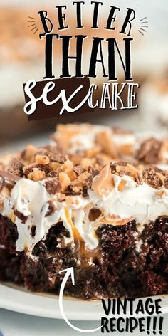 Better than sex cake is one of my favorite desserts. It's chocolate cake with sweetened condensed milk, caramel sauce, Cool Whip and crushed Heath bars. Summer Dessert Recipes, Easy Desserts, Delicious Desserts, Yummy Food, Cool Whip Desserts, Cold Desserts, Cake Mix Recipes, Baking Recipes, Cookie Recipes
