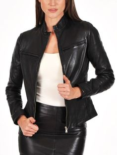 Women Stylish slim fit front zip Lambskin Bomber Biker leather jacket WJ358 #Handmade #BasicJacket