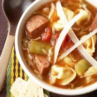 Sausage and Tortellini Soup - not sure about the canned onion soup, but I might try this one. Seems hearty.