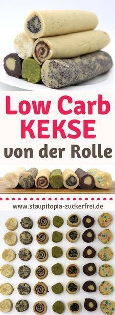 1 Teig - 7 verschiedene Kekse: Low Carb Kekse von der Rolle - Staupitopia Zuckerfrei This recipe for low carb cookies really has an enormous variety. You can combine the biscuit dough with all conceiv Low Carb Cookies, Low Carb Sweets, Low Carb Desserts, No Calorie Foods, Low Calorie Recipes, Fat Foods, Desserts Végétaliens, Law Carb, Cookie Recipes