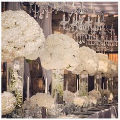 Gorgeous tall hydrangea Arrangements for an all white wedding. Wedding Centerpieces, Wedding Table, Wedding Reception, Hydrangea Centerpieces, Centrepieces, Silver Wedding Decorations, Graduation Centerpiece, Quinceanera Centerpieces, Candle Centerpieces