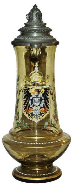 2L Imperial Eagle Shield Glass Stein W Fancy Lid