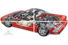 mid-engine sports car cutaway