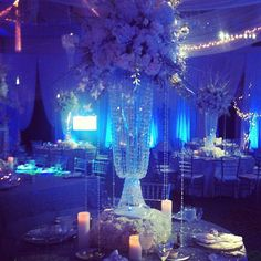 Paragon Events: Livia's Bat Mitzvah. Snowflakes. Projected snowflakes. Winter theme. Blue theme. Centerpieces. Centerpiece. Crystal centerpiece.