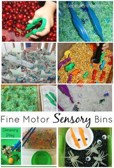 Fine motor sensory bins for building skills and having fun with hands on sensory play! Unique and simple fine motor sensory bins for all seasons and themes.