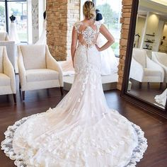 We can't get enough of this @essenseofaustralia gown!! This dress is sure to make a statement as you walk down the aisle   ...  #onefinedaybridal #weddingdress #weddinggown #wedding #laceweddingdress #laceweddinggown #lacedress #weddingdressinspo #weddinginspiration  #indianabride #bridalboutique #essenseofaustralia #illusionbackweddingdress #illusionback #lacebackweddingdress #vintageweddingdress