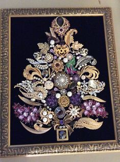 """Vintage Jewelry Repurposed """"Purple Mom"""" vintage jewelry brooch tree/art Mother's Day for MIL , costume vintage jewelry Christmas, framed art- Chichester Hill Gallery Jewelry Frames, Jewelry Tree, Art Deco Jewelry, Mom Jewelry, Jewlery, Jewelry Bracelets, Jewelry Making, Costume Jewelry Crafts, Vintage Jewelry Crafts"""