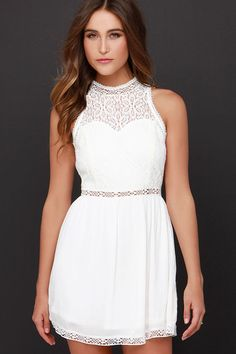 Angelic Arrival Ivory Lace Dress at Lulus.com!