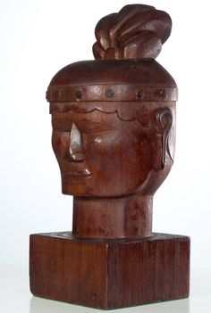 Antique American Folk Art Carving Native American Bust (Life-size) collection Jim Linderman Dull Tool Dim Bulb