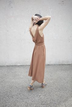 Jesse Kamm Palma Dress in Almond | Oroboro | Brooklyn, New York