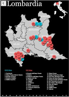 Lombardia Wine Map DOC DOCG 1) Franciacorta DOCG 2) Oltrepò Pavese metodo…