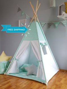 Discover recipes, home ideas, style inspiration and other ideas to try. Diy Teepee, Teepee Tent, Teepees, Kids Tents, Teepee Kids, Girls Teepee, Baby Bedroom, Kids Bedroom, Childrens Teepee
