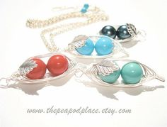 2 Peas in a pod necklace with inset leaf  by ThePeaPodPlace, $26.00