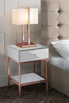 room decor bedroom rose gold Stiletto Toughened White Glass and Rose Gold Side Table /My Furniture/side table/rose gold/bedside table Room Decor Bedroom Rose Gold, Marble Bedroom, Rose Gold Rooms, Bedroom Decor For Couples, Rose Gold Bed, Ladies Bedroom, White And Gold Bedroom Furniture, White And Gold Nightstand, Quirky Bedroom