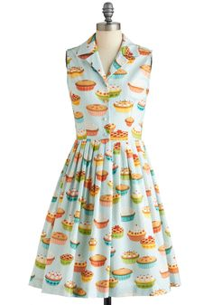 My Kind of Pie Dress - Long, Blue, Multi, Novelty Print, Buttons, Pleats, Casual, Shirt Dress, Fit & Flare, Sleeveless, Spring, Party, Work, Vintage Inspired, Quirky