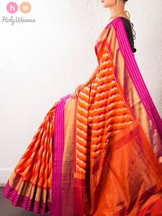 #Orange #Handwoven #Katan #Silk #Pochampally #Saree #HolyWeaves
