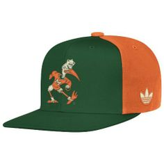NCAA Miami Hurricanes Mascot Snapback Hat, One Size Fits All, Green/Orange adidas. $13.03