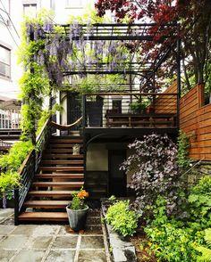 裏庭からウッドデッキのバルコニーに上がる階段 バルコニーには藤棚