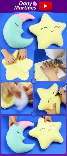 Faça você mesmo almofadas fofinhas em formato de lua e estrela usando toalha fofinha, reaproveitando toalha ou tecido fofinho, do it yourself, DIY, para criança, decoração infantil