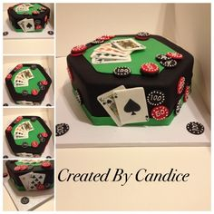 Birthday Cake Photos - Made for Birthday Poker Party. Vanilla Cake with Vailla Buttercream. Cards and Poker Chips are edible