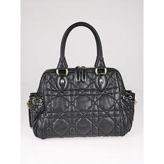 Pre-owned Christian Dior Black Cannage Quilted Leather Satchel Bag ($595) ❤ liked on Polyvore featuring bags, handbags, print handbags, quilted leather handbags, satchel handbags, satchel purses and satchel style handbag