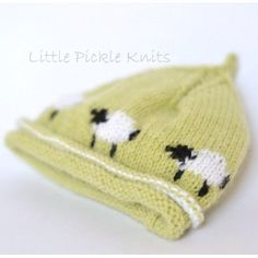 Little Pickle Knits collection by Linda Whaley. An adorable little lamb pixie beanie hat. The little lambs run all around the hat. Knitted with Bergere De France Caline 4ply yarn on 3.25mm (US#3) needles. This easy to read pattern has separate detailed instructions for each size. Just select and print the pages for the size you are knitting, and leave the other sizes safely in a folder for another project. This Intarsia hat is knitted with Bergere De France Caline 4ply. This knitting pattern…