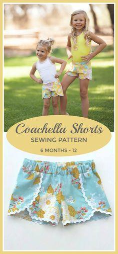 Coachella Shorts PDF Sewing Pattern, Sizes 6mos-12yrs, Girls Shorts Pattern, PDF Instant Download #sewing #sewingpattern #shorts #affiliate #coachella #pattern