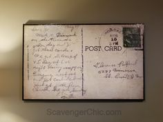 Share Tweet Pin Mail SMS Enlarging a Postcard Years ago, when I was still reading thru magazines, tearing out decor ideas that caught my ... Victory Over Japan Day, Printing On Tissue Paper, Garage Sale Finds, Old Letters, Wood Scraps, Condo Decorating, Stick It Out, Woodworking Projects, Envelope