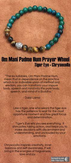 MANTRA: My patience will be rewarded. - 8mm Chrysocolla Round Natural Gemstones - 8mm Tiger Eye Round Natural Gemstones - Tibetan Silver Om Mani Padme Hum Prayer Wheel - Tibetan Silver Rondelles - Com
