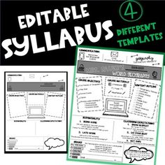 Editable Syllabus TemplateUPDATED FOR 2020-2021I am so excited about this product. Over the course of the last 6 years I have slowly made my syllabus more modern and hip to gather the students' attention and this year I loved my syllabus so much that I wanted to share it with the TpT community. Ther... Syllabus Template, Insert Text, Meet The Teacher, World Geography, 6 Years, Back To School, Things I Want, Students, Clip Art