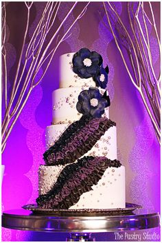 Navy, Purple and Black Rich Ruffle Wedding Cake by The Pastry Studio: Daytona Beach, Fl Image by Heather Rice Photography