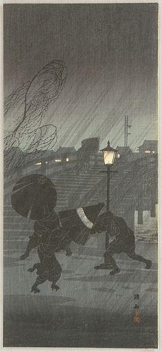 """Hiroaki (Shotei) Takahashi, ca. 1930, """"Sudden Rain"""""""