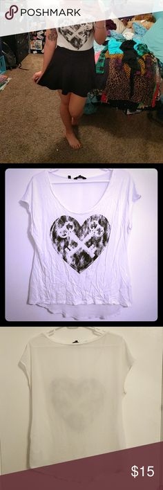 White guess graphic tee Top is sheer in the back and has heart graphic in the front Guess Tops Tees - Short Sleeve