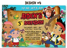 Jake and the Neverland Pirates Birthday Party Photo by funinvitez, $11.99