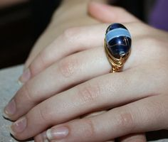Blue & Gold Wire Wrapped Lampwork Ring. Gold 20 by BellaGioielli1, $17.00