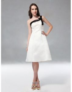 One Shoulder Bow Knee Length A-line Bridesmaid Dress