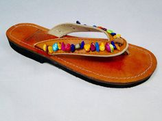 4563be070bd16c Handcrafted Beaded Leather Sandals from Honduras - Fair Trade - Brown  Leather Beaded Flip Flops