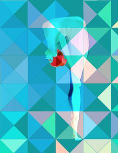 Contortionist with geometric background-all done in Corel Painter 11.