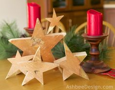 Wooden Stars cut from cherry tree slices by Marji Roy at AshbeeDesign.com