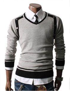 Men's V-Neck Side Button Pull Over Sweater