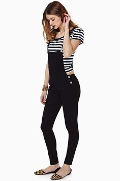 Black overalls + striped tee