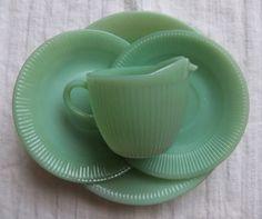 Vintage Glware Jadeite Fire King Jade Green Creamer Saucer Plates Summer Finds Mint Set Serving Gift Gl Kitchen