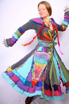 """Recyled Sweater Coat  Rainbow Twirl  TutorialPattern by katwise""    A pattern tutorial for sweater coats... This coat in particular is just incredibly beautiful though, I adore the swirls."