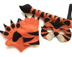 Safari selva tigre animales traje fieltro Set máscara cola y las patas de los niños