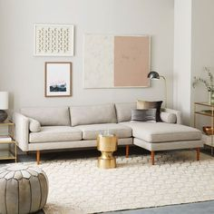 The tailored shape of our Monroe Mid-Century Sectional is deceptively comfortable, with wide cushions and handy bolster pillows. Available in platinum linen weave fabric, it's hand upholstered and assembled in the USA.