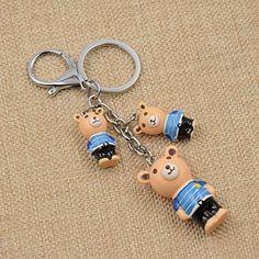 Amazon.com: Cute Cartoon 3 Bears Keychain Alloy Lobster Clasp Kawaii Brown Blue Red Keyring 1 Pc: Clothing