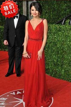 Wholesale Evening Dresses - Buy Selena Gomez V Neck A-Line Spaghetti Strap Sash Chiffon Oscars Red Carpet Celebrity Dresses 2014 Evening Dress Zipper Back, $105.8 | DHgate