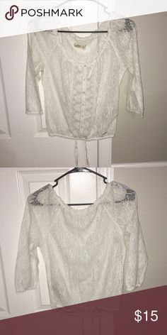 Lacey 3 quarter blouse Overall lace top, looks really cute with just a simple cami underneath. Ties in the middle to wear it differently. Hollister Tops Blouses