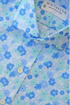 Blue & Mint Floral Poplin Bespoke Shirt - 6+
